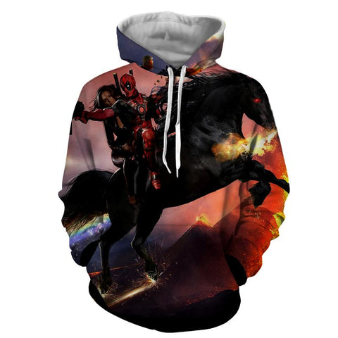 Deadpool And His Girlfriend Riding Horse Cool Style Hoodie