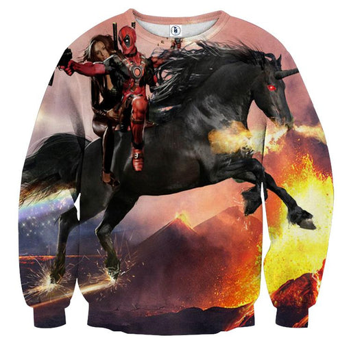 Deadpool And His Girlfriend Riding Horse Cool Style Sweatshirt - Superheroes Gears