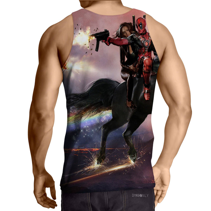 Deadpool And His Girlfriend Riding Horse Cool Style Tank Top - Superheroes Gears
