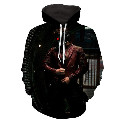 Guardians of the Galaxy Star-Lord Portrait Cool Printed Hoodie - Superheroes Gears