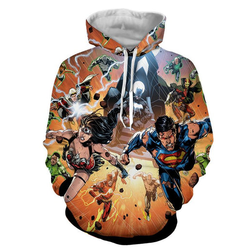 Justice League Heroes Fighting Dope Design 3D Print Hoodie - Superheroes Gears
