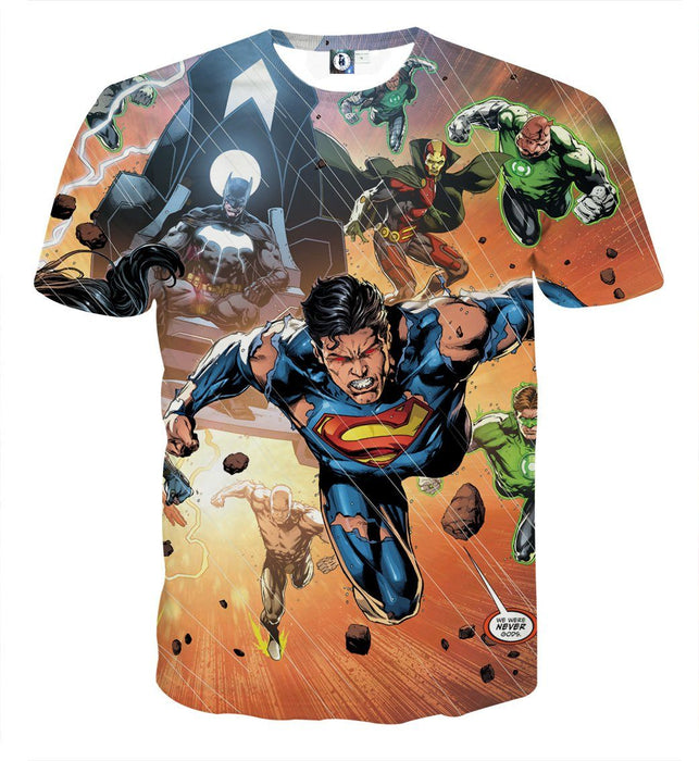 Justice League Heroes Fighting Dope Design 3D Print T-Shirt - Superheroes Gears
