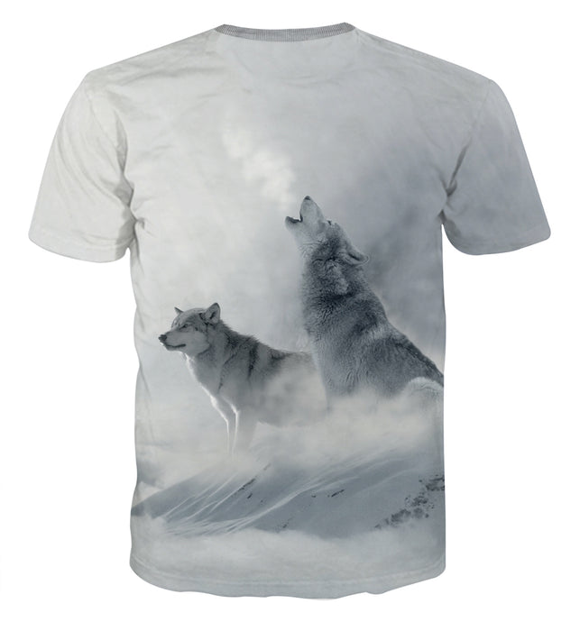 Wolves Roaring Loud Snowy Place Artistic Style T-Shirt