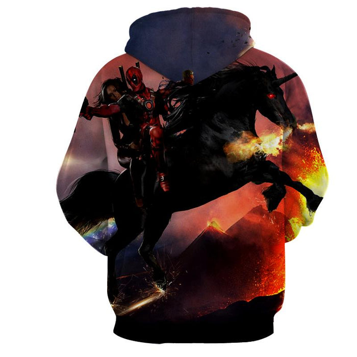 Deadpool And His Girlfriend Riding Horse Cool Style Hoodie - Superheroes Gears
