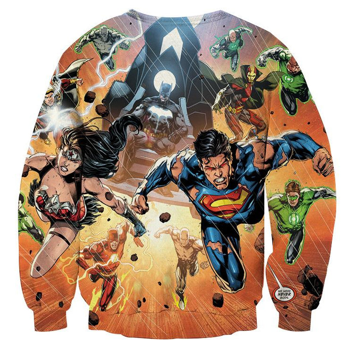 Justice League Heroes Fighting Dope Design 3D Print Sweatshirt - Superheroes Gears