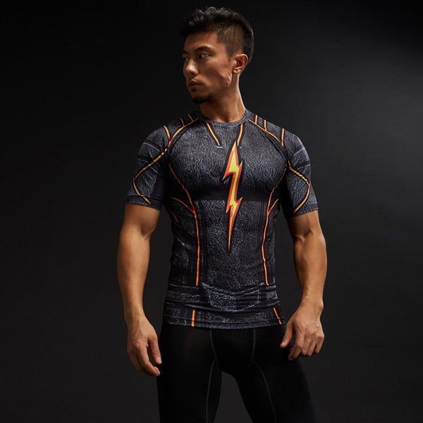 3D DC Superheroes Flash Compression Gym Costume Training T-shirt