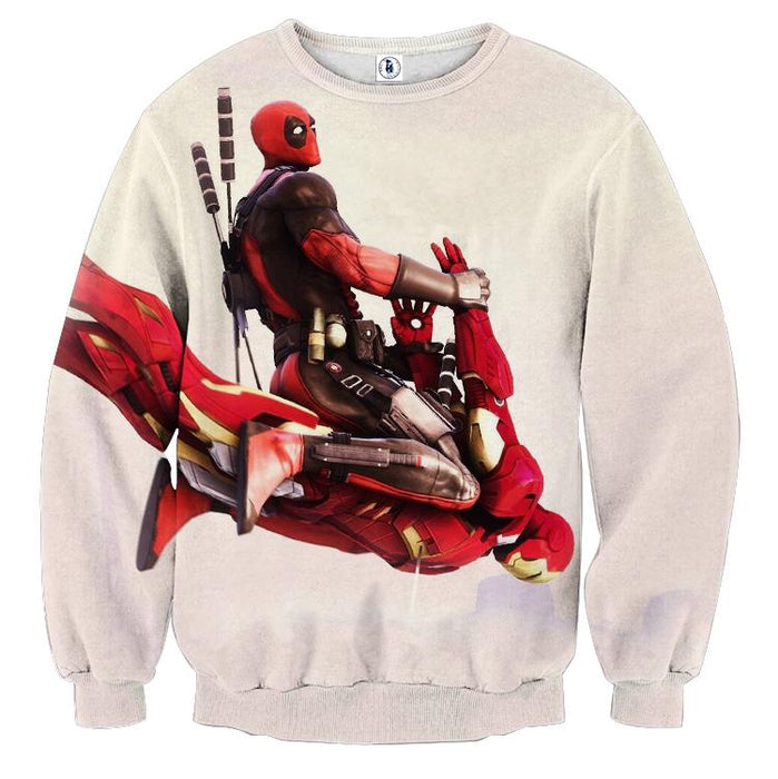Funny Deadpool Riding Iron Man Meme Style 3D Print Sweatshirt - Superheroes Gears