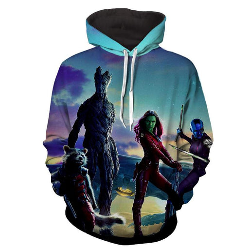 Guardians of the Galaxy Team Gamora Groot Portrait Cool Hoodie - Superheroes Gears