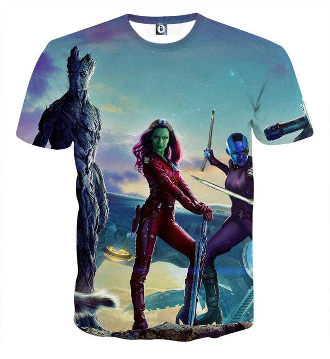 Guardians of the Galaxy Team Gamora Groot Portrait Cool T-shirt - Superheroes Gears