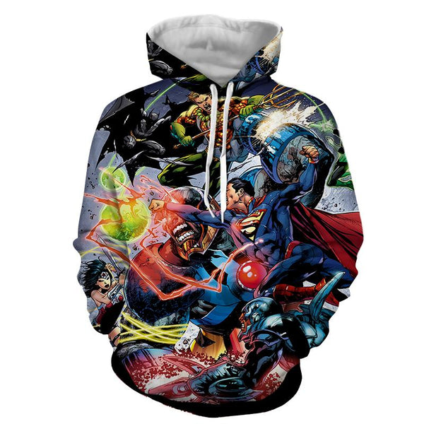 Justice League Fighting Scene Cool Design Full Print Hoodie