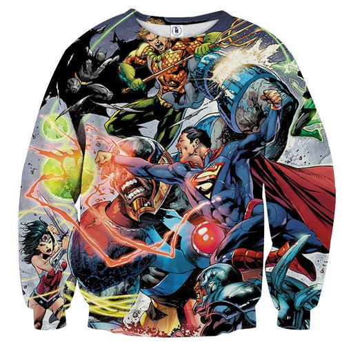 Justice League Fighting Scene Cool Design Full Print Sweatshirt - Superheroes Gears
