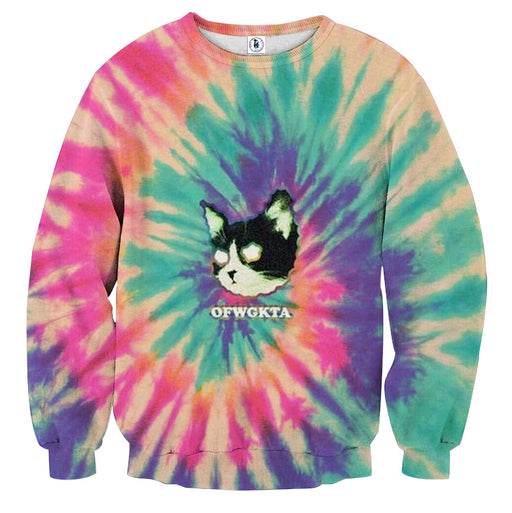 Cat Ghost Eyes Thunder Colorful Light Graphic Design Sweatshirt - Superheroes Gears