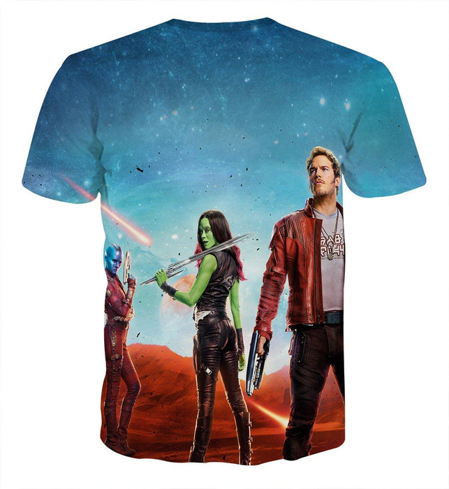 Guardians of the Galaxy Part 2 Team Poster Vibrant 3D T-shirt - Superheroes Gears