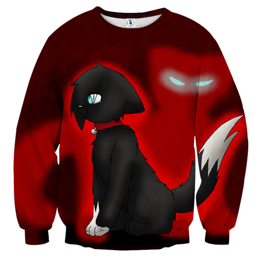 One Eye Cat Cartoon Drawing Scaring Anime Style Sweater