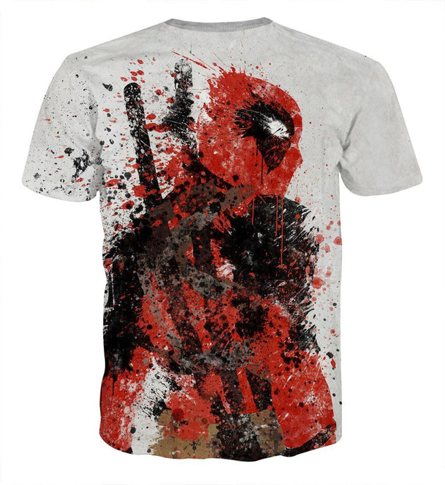 Deadpool Impressive Abstract Painting Design 3D Print T-shirt - Superheroes Gears