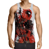 Deadpool Impressive Abstract Painting Design 3D Print Tank Top