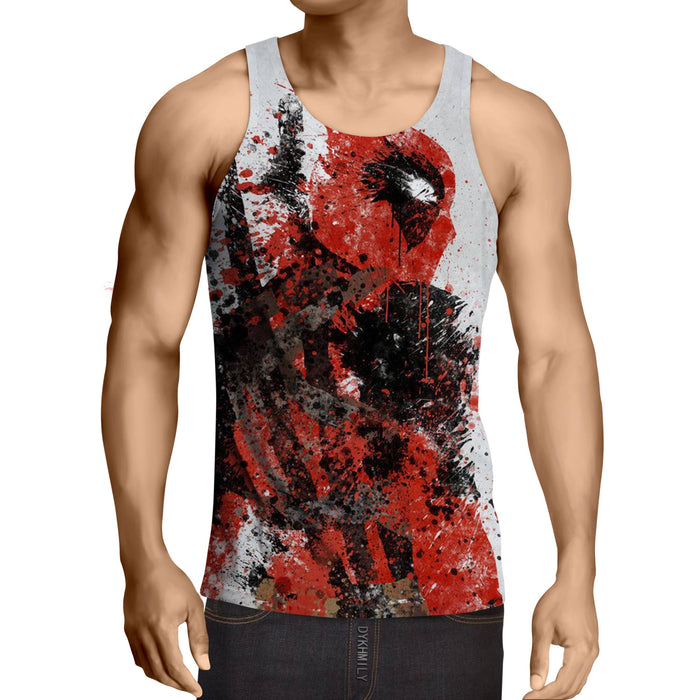 Deadpool Impressive Abstract Painting Design 3D Print Tank Top - Superheroes Gears