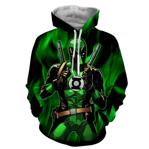 Deadpool In Green Lantern Costume Perfect Design Hoodie - Superheroes Gears