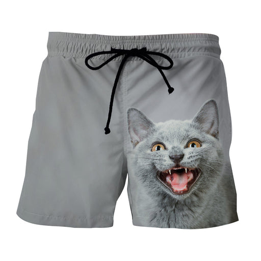 Smiling Cat Grey Portrait 3D Printed Art Stylish Shorts