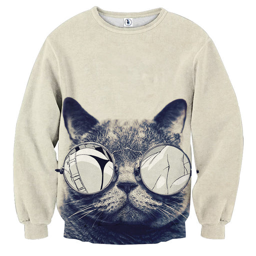 Cat Face Sexy Sunglasses Parody Manga Design Sweatshirt - Superheroes Gears