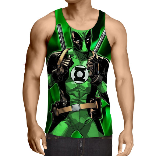 Deadpool In Green Lantern Costume Perfect Design Tank Top - Superheroes Gears