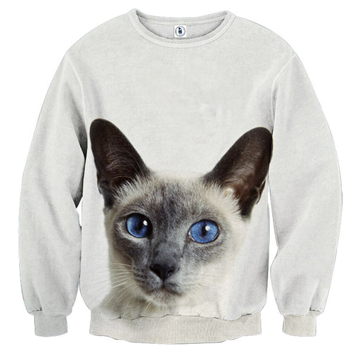 Blue Eye Cat Capturing Simple Art Design Dope Sweatshirt - Superheroes Gears