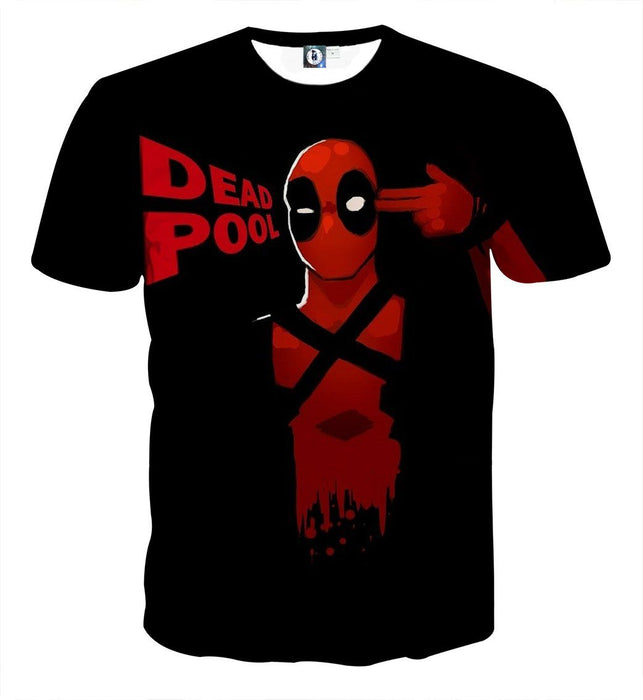 Deadpool Marvel Hand Gun Sign Red And Black Design T-shirt - Superheroes Gears