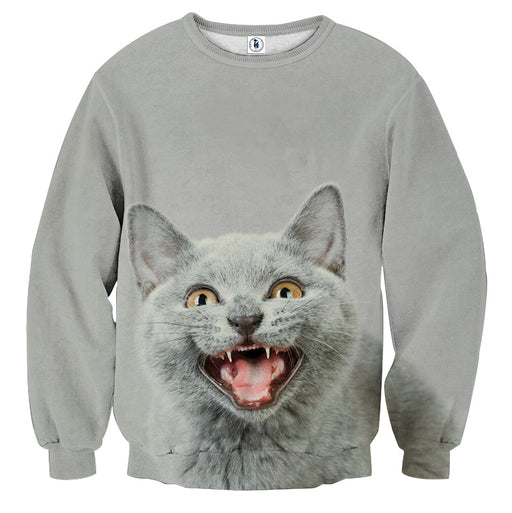 Smiling Cat Grey Portrait 3D Printed Art Stylish Sweatshirt