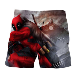 Bloody Deadpool Fighting Battle Painting Design Print Short