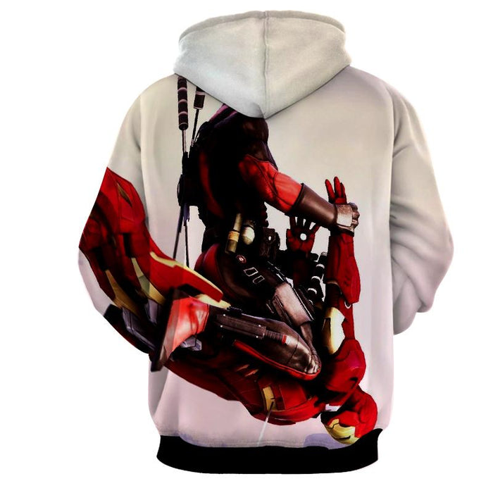 Funny Deadpool Riding Iron Man Meme Style 3D Print Hoodie - Superheroes Gears