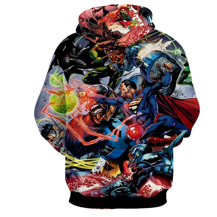 Justice League Fighting Scene Cool Design Full Print Hoodie - Superheroes Gears