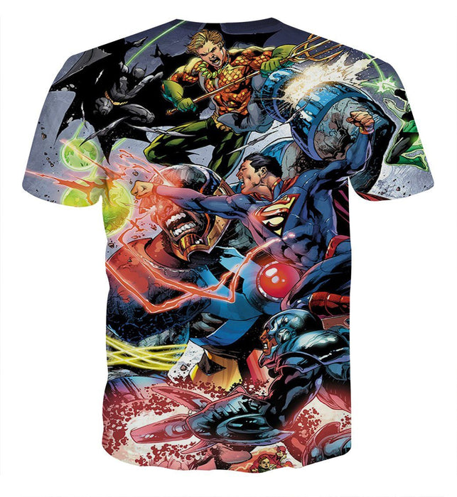 Justice League Fighting Scene Cool Design Full Print T-Shirt - Superheroes Gears