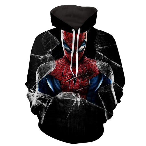 Amazing Spiderman Broken Glass Scratch 3D Print Hoodie