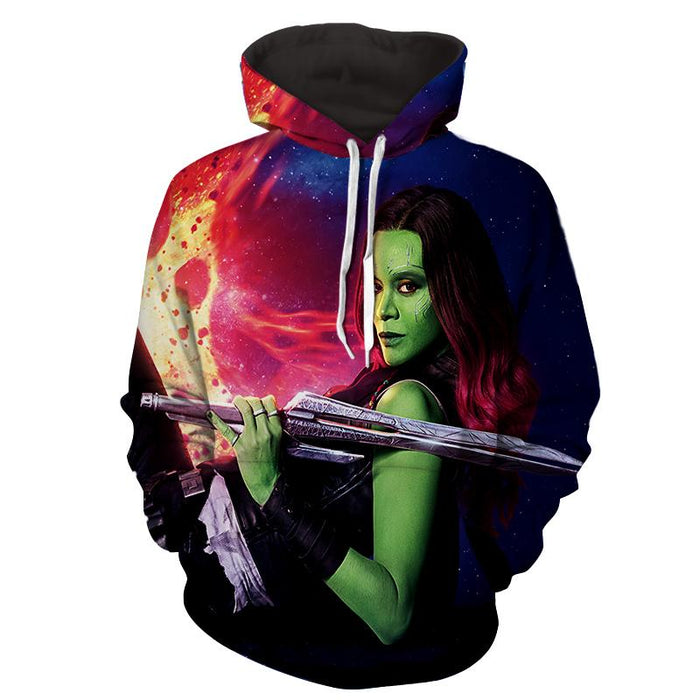 Guardians of the Galaxy Gamora Portrait Dope 3D Design Hoodie - Superheroes Gears