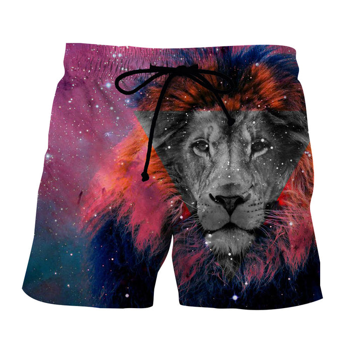 Lion King Black-White Face Galaxy Dope Art Design Shorts