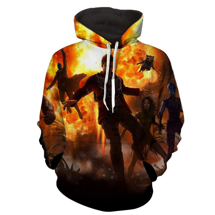Marvel Guardians of the Galaxy Team Battle Vibrant Design Hoodie