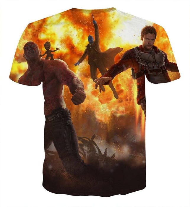 Guardians of the Galaxy Team Battle Vibrant Design T-shirt - Superheroes Gears