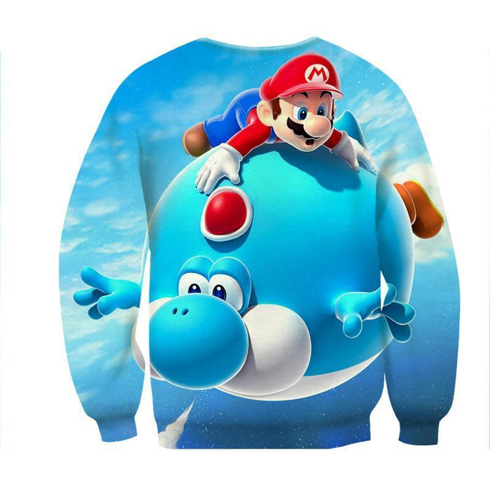 Super Mario Blue Yoshi Fly Cute Trendy Gaming Sweatshirt