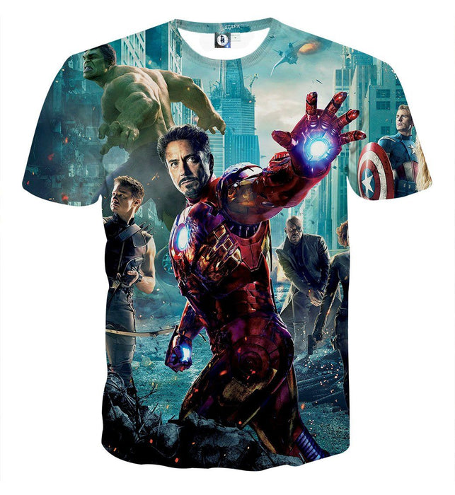 The Avengers Iron Man Black Widow Nick Fury Swag T-shirt
