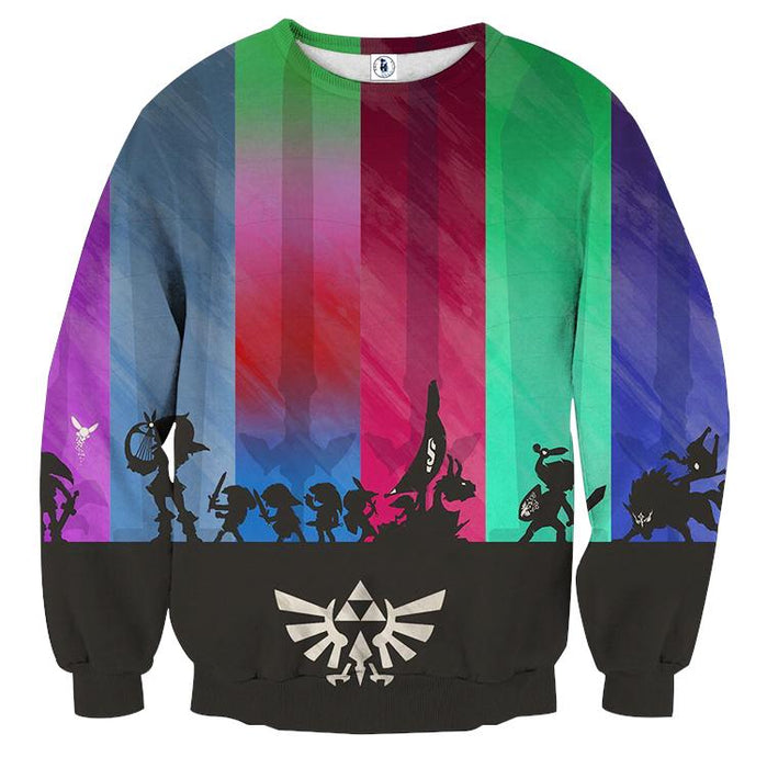 The Legend Of Zelda Cool Shadow Of The Characters Sweater