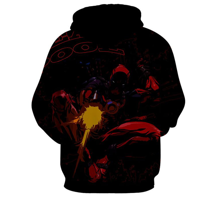 Antihero Deadpool Shooting With Gun Cool Style Print Hoodie
