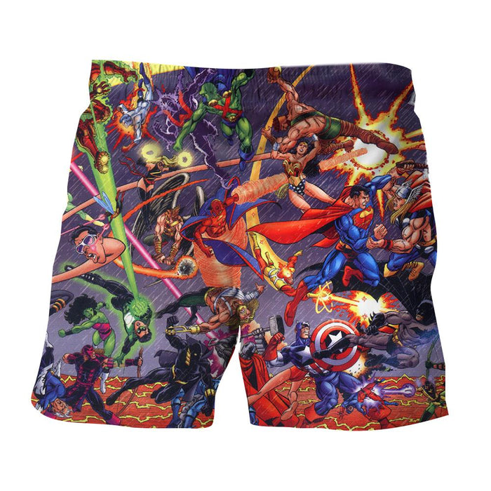 Justice League Fighting The Avengers Scene Full Print Summer Shorts - Superheroes Gears