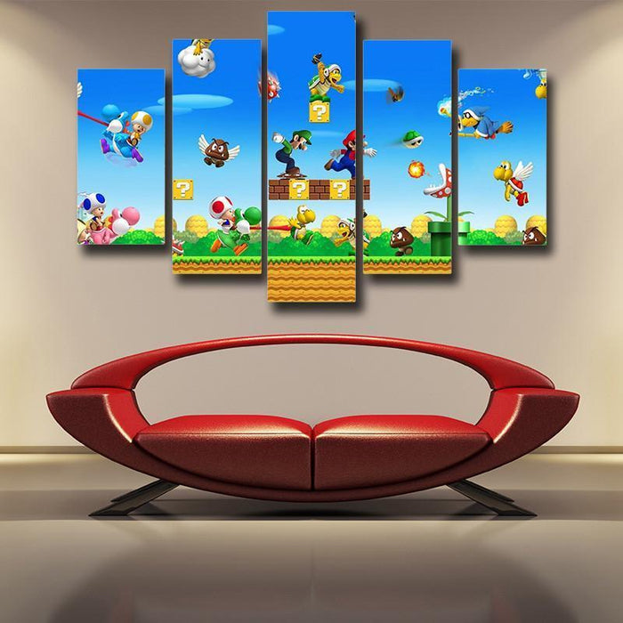 Super Mario Bros Luigi 5pc Wall Art Decor Posters Canvas Prints
