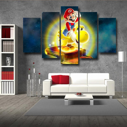 Super Mario Golden Yoshi 5pc Wall Art Decor Posters Canvas Prints