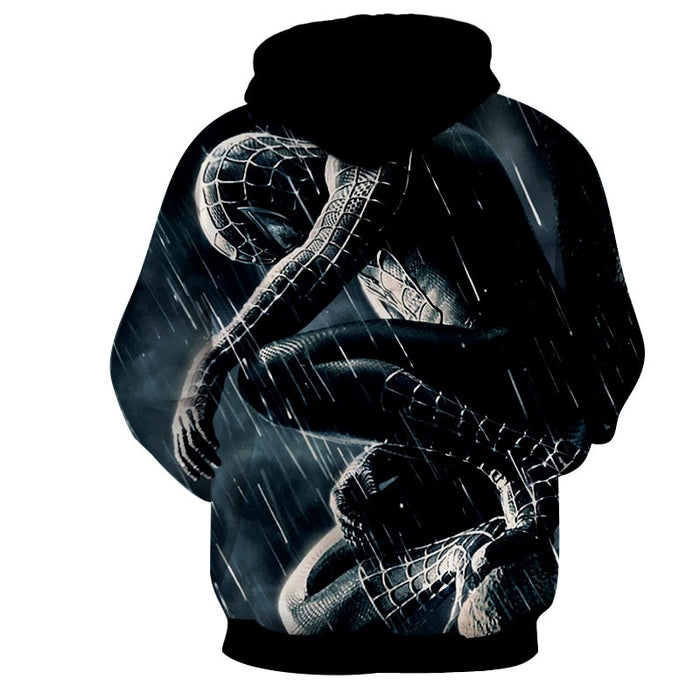 Black Spiderman Lonely In The Rain Cool Style Winter Hoodie