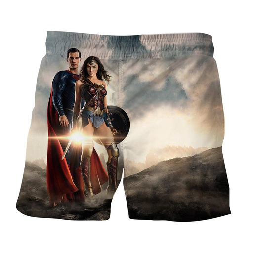 Dawn Of Justice Superman and Wonder Woman Full Print Shorts - Superheroes Gears