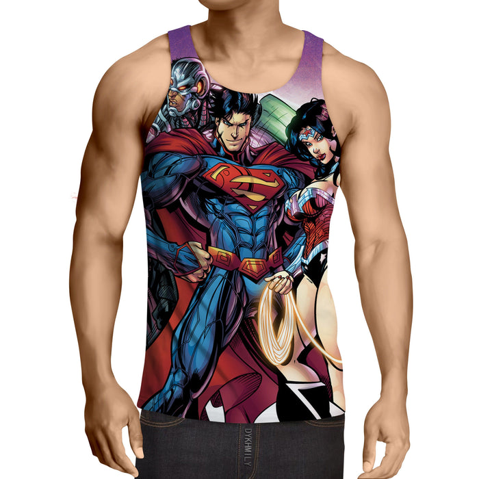 Justice League DC Comics Heroes Dope Team Cool Tank Top - Superheroes Gears