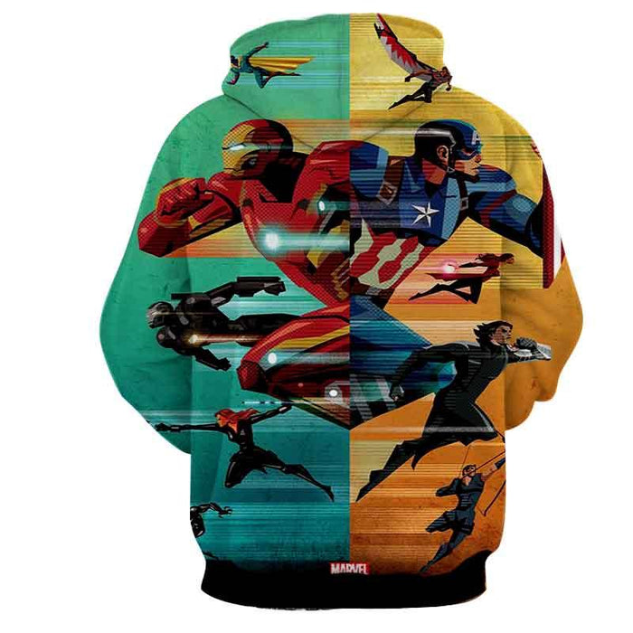 Marvel The Avengers Civil War Symmetric Pattern Style Hoodie