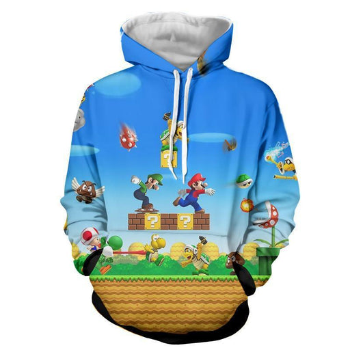 Super Mario Bros Luigi Monster Scene Vibrant Game Hoodie