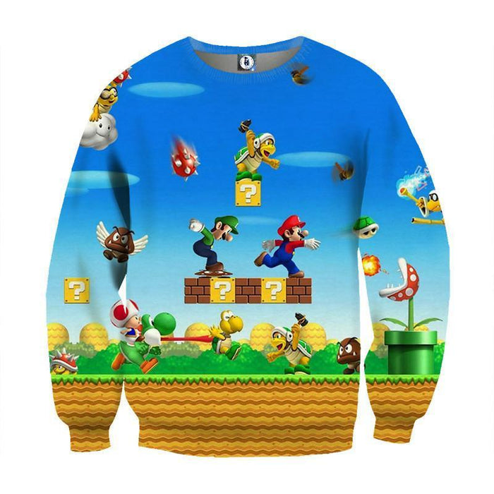 Super Mario Bros Luigi Monster Scene Vibrant Game Sweatshirt